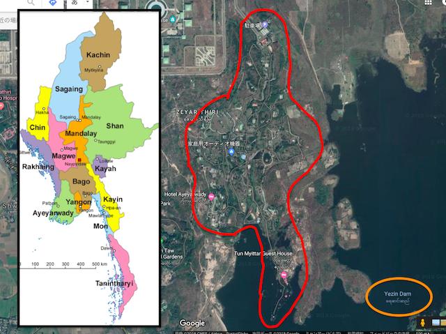ナショナルランドマークガーデンとミャンマー地図