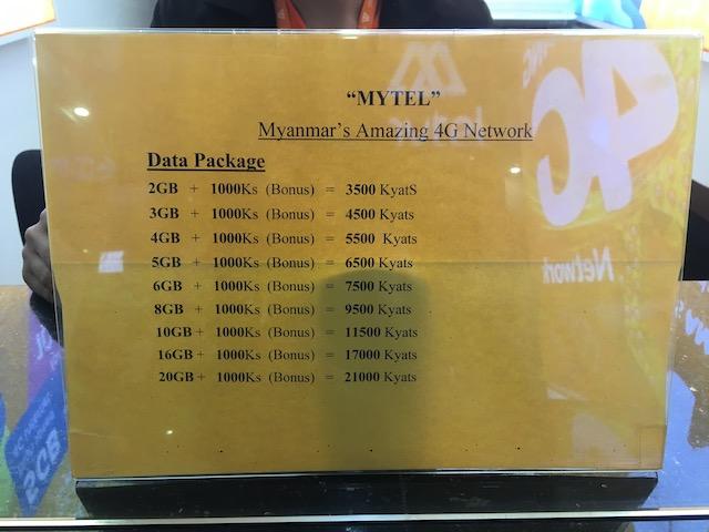 ヤンゴン空港で買えるマイテルのSIMカード料金プラン