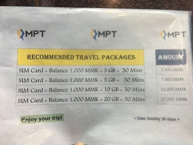 ヤンゴン空港で買えるMPTのSIMカード料金プラン