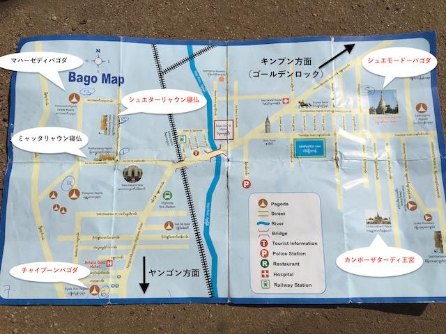 ミャンマーバゴーの観光マップ